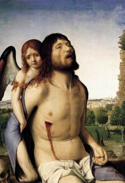 Antonello da Messina. Cristo morto sostido por un anxo