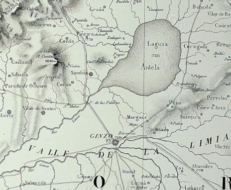 A lagoa de Antela no mapa de Domingo Fontán do ano 1845