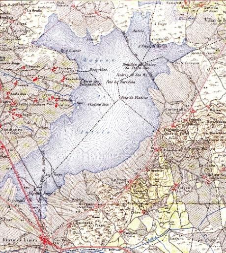 Mapa da lagoa de Antela do ano 1943