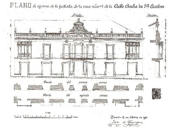 Plano da reforma da fachada do ano 1911