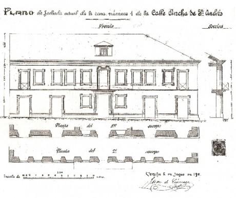 Plano da fachada no ano 1911