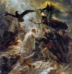 GIRODET. Ossian recibe as almas dos heroes mortos pola patria