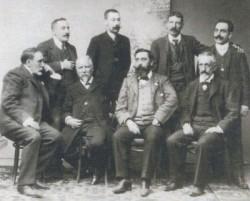 Murguía, Curros Enríquez, Carré Aldao, Eladio Rodríguez e outros membros da Real Academia Galega en 1904