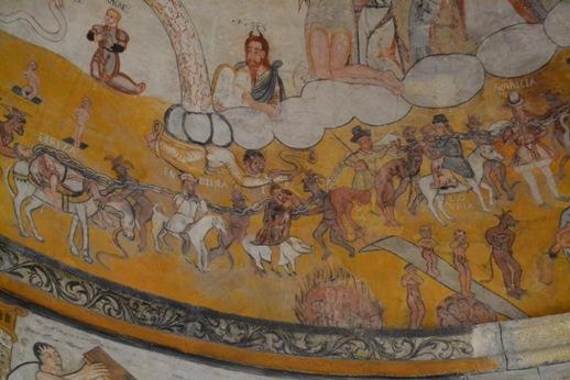 Castrelo de Miño. Pinturas murais. Representación dos sete pecados capitais