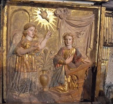 Razamonde. Panel do retablo coa escena da Anunciación