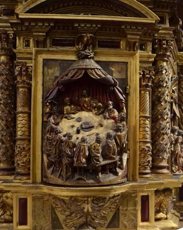 Ultima Cea no sagrario do retablo de San Pedro de Leirado