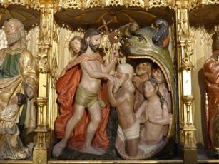 Villaescusa de Haro. Pormenor do retablo da capela da Asunción